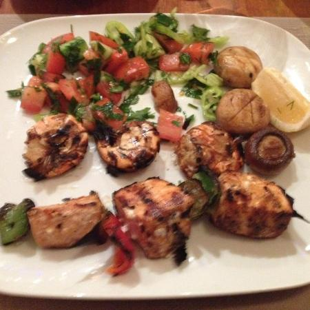 Mezze: Prawn and swordfish kebab