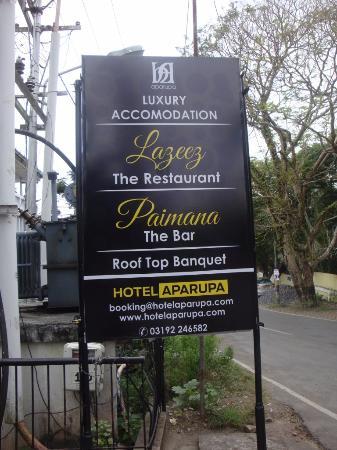 Hotel Aparupa : Name Board