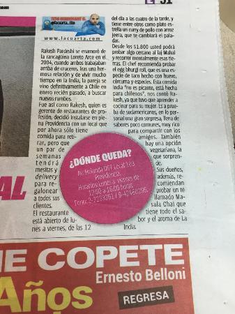 Entrevista diario La Cuarta - Picture of Pardeshi Tadka ...