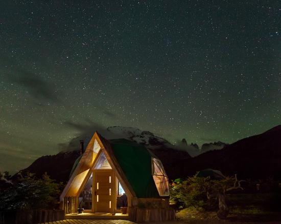 Ecocamp Patagonia: Reception Dome by night
