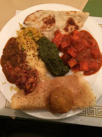 Sangam Indian Cuisine: Chole,Rice, palak curry, paneer tikka masala, aloo tikki, masala dosa, naan
