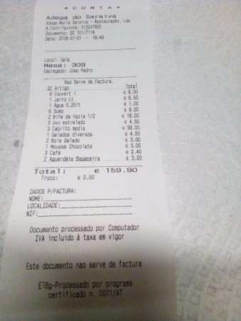 Restaurante Adega do Saraiva: ovos estrelados cobrados à parte dos bifes...