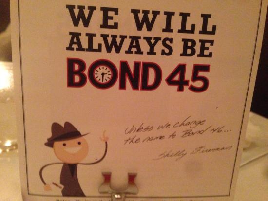 Bond 45 Italian Kitchen & Bar: Das Bond 45 Restaurant zieht um! An die 46th Street