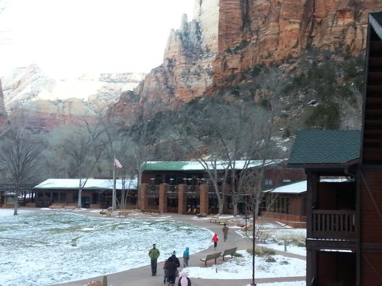 Zion Lodge: View from our Balcony, to Main Lodge Building
