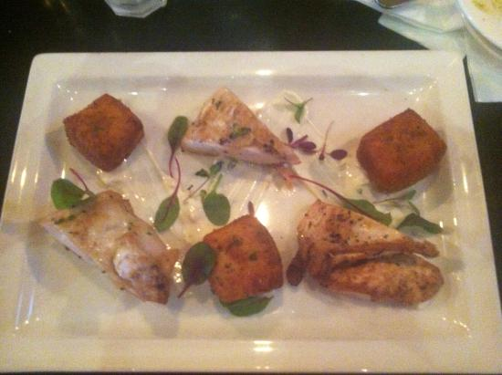 The Palais: marinated kiev cut breast served w white polenta, spring onion & parmesan croquettes
