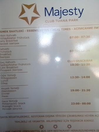 Club Tuana Fethiye: Horaires