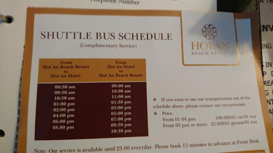 โรงแรมฮอยอันบีช: シャトルバスの時刻表