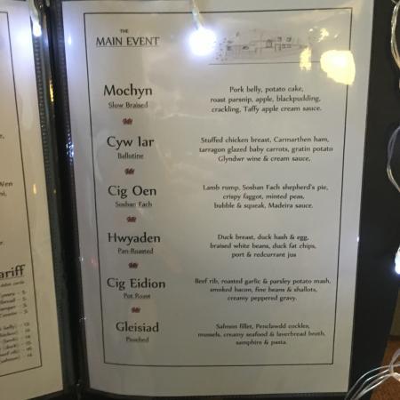 Islwyn Inn: Evening restaurant menu. Main Courses.
