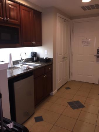 Kitchen area of king suite