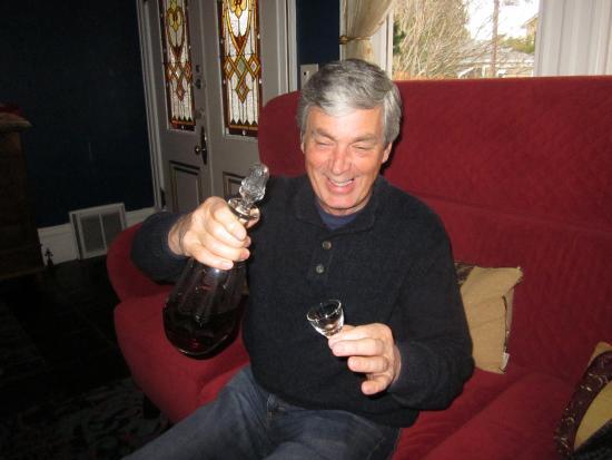 La Belle Epoque: Husband enjoying his complimentary port.