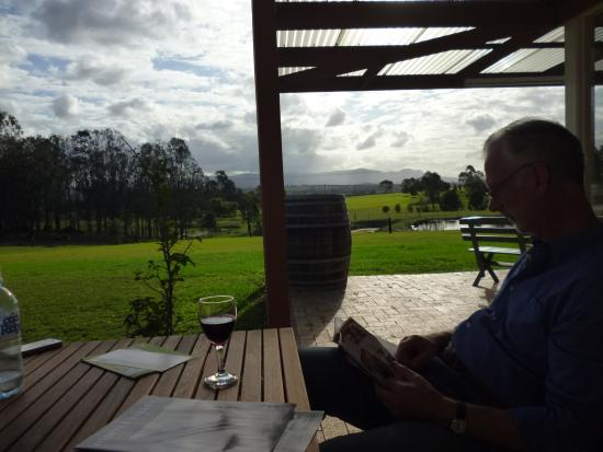 Rothbury Escape: Enjoying a complimentary glass of wine on the verandah