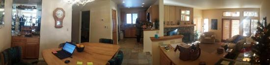 McCloud Condominiums: Panorama of kitchen/dining/living room