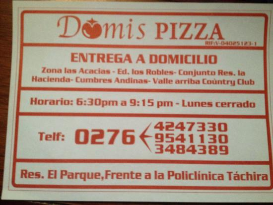 Domis Pizza : Servicio a domicilio