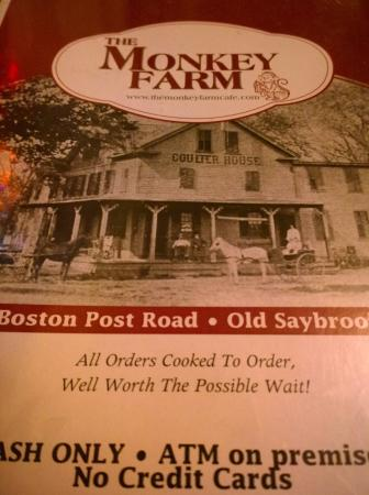 Old Saybrook, CT: The Monkey Farm Menu Cover