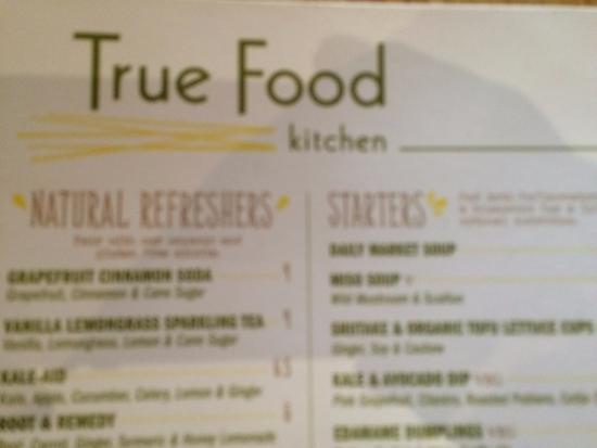 True Food Kitchen Fashion Valley Menu