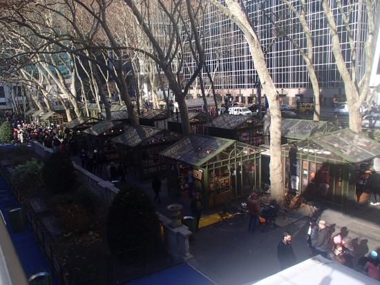 view of winter village kiosks from upper level of Celsius