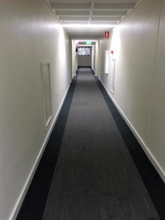 Adelaide Meridien Hotel & Apartments: Passage way with stains on carpet in one area. Lot worse in others