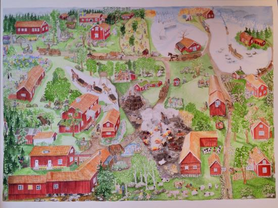 Tivedstorp - STF Vandrarhem: A painting over the area
