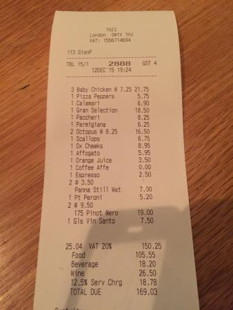 Tozi Restaurant & Bar: bill
