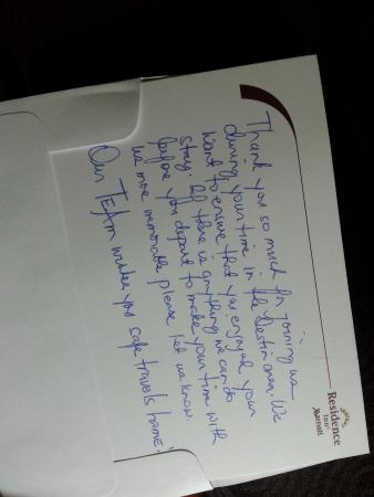 Residence Inn Sandestin at Grand Boulevard : handwritten thank you note