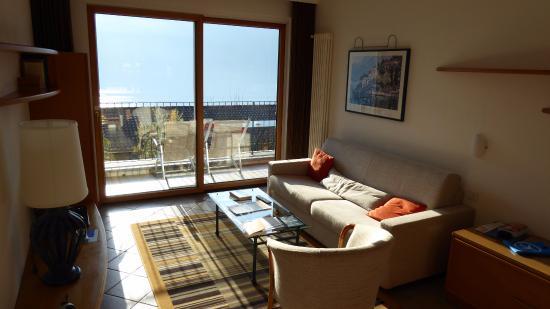 Cima, Italia: Unsere Suite, eine eigentlich kleine Wohnung - Wohnbereich