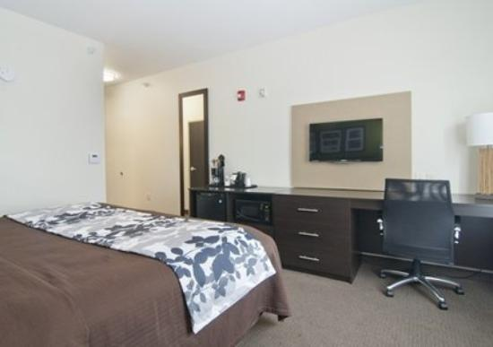 Marshall, MN: king room showing fridge and microwave