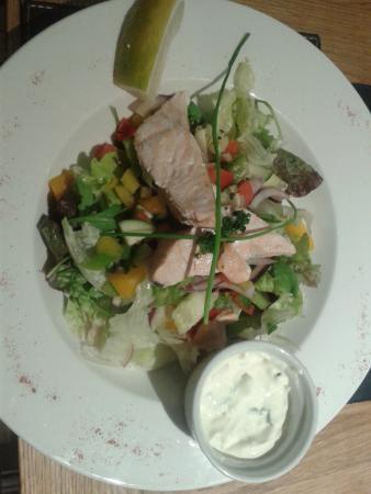 Leeming Bar, UK: Salmon salad. Tasty and healthy but not filling.
