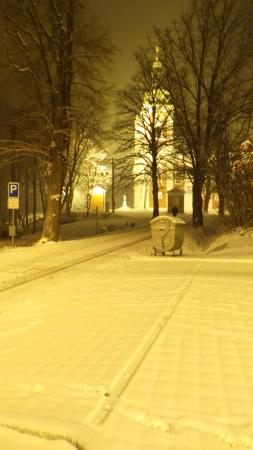 Krnov, Tschechien: uitzicht vanaf de parkeerplaats