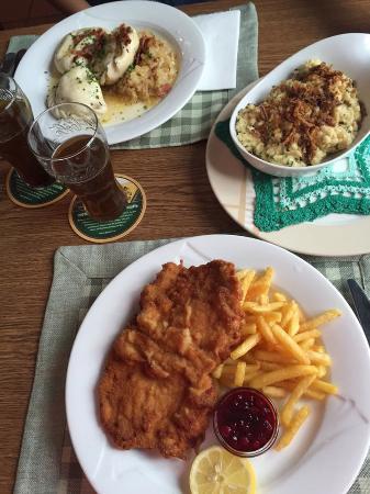 Spittal an der Drau, Austria: Nudelteller, Kaesespaetzle, Wiener Schnitzel