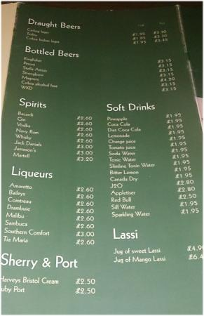 buraq sample drinks menu