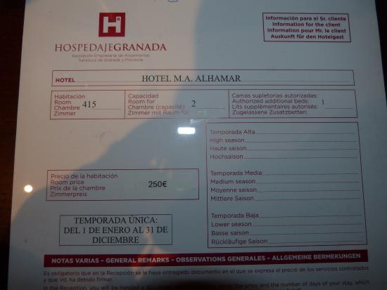 "Hotel M.A. Alhamar: informacion de la habitacion ""Triple"""