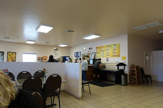 Lily's Mexican Food : Interior with salsa bar and counter.