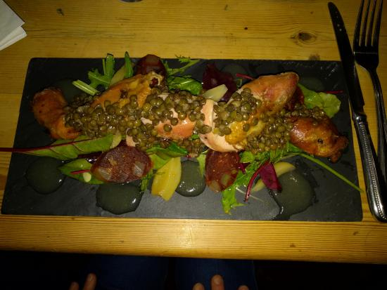 Snape, UK: Partridge with chorizo, apple, pear, and lentil salad