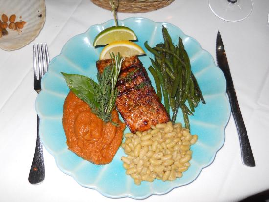 Pomfret, CT: wood-grilled salmon at Sharpe Hill Vineyard