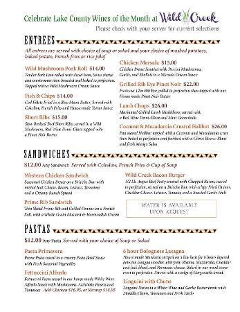 Upper Lake, CA: New Menu