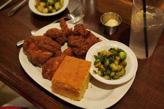 Grafton, WI: Outstanding fried chicken. The Brussels sprouts are great too.
