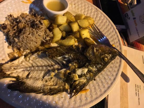 San Jose Succotz, Belize: Fried Tilapia. I ate a bunch...