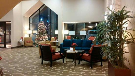 Comfort Inn Westport: Decorated so beautiful around Christmas and we had a view of what looks to be a huge nice pool.