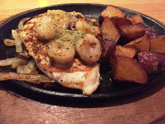 Haverhill, MA: Biourbon Street Chicken & Shrimp  on a sizzling plate
