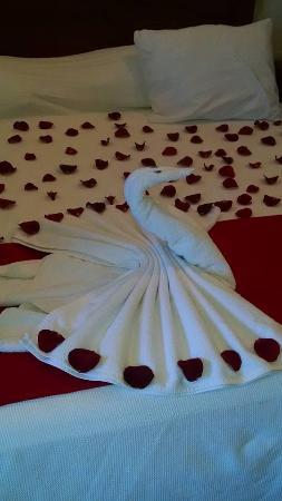 Villas Coco Resort: Rose petal covered bed