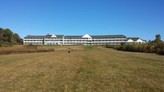 Belfast, ME: View of the hotel from ocean edge