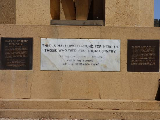 Rats of Tobruk Memorial: Original inscription plaque