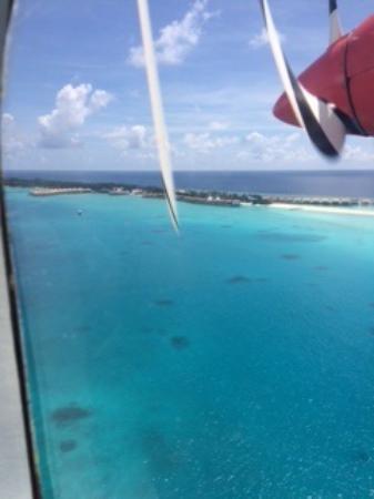 Kuramathi: First view of island from seaplane