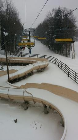 Bromont Ski Area: Chair lift up Mt Soleil