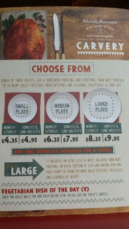 Carvery Menu - Picture of Queen of the Loch, Balloch ...