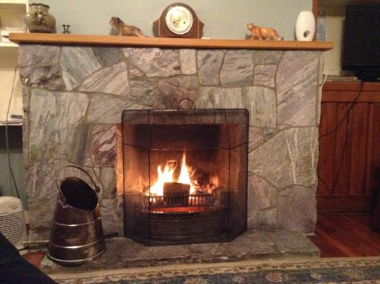 Catlins Retreat Guest House: A Welcome fire on a cold Spring evening.