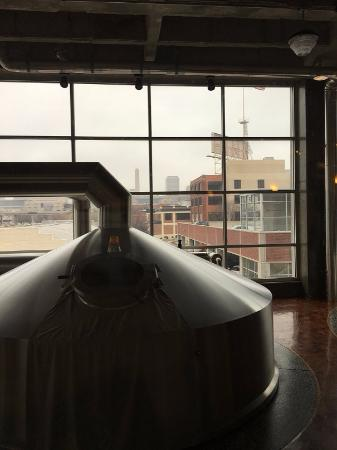 Boulevard Brewing Company: One of the tank rooms, looking out across the KC skyline.