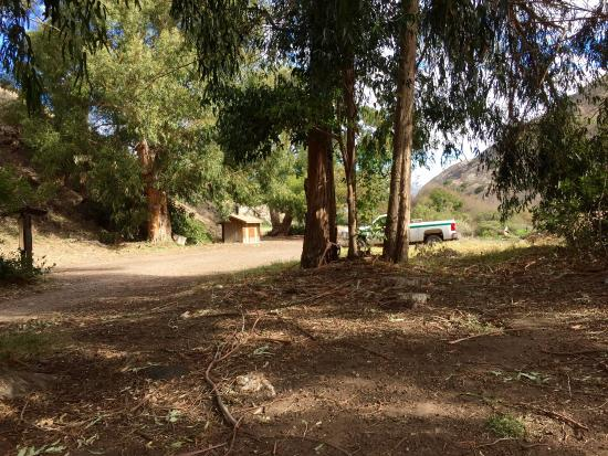 Santa Cruz Campground: View from Campsite #2 (bathrooms in distance); Scorpion Ranch Campground