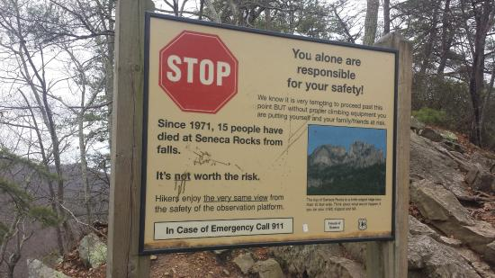 Seneca Rocks State Park: fair warning- no games here; you fall you die.