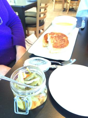 Lovettsville, VA: Warm Brie and Apple Sandwich with Butternut Squash Soup and End of Summer Pickles